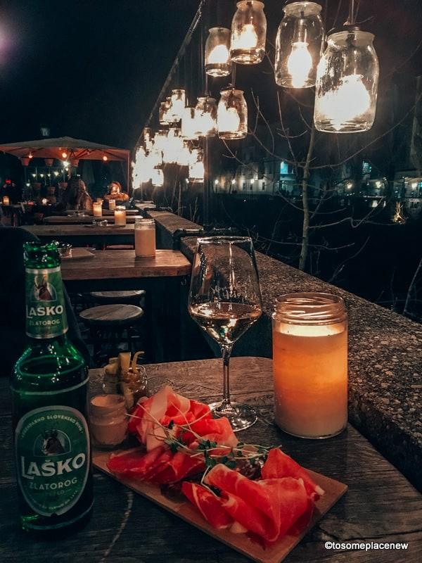 Dinner in Slovenia by the Ljubljanica river
