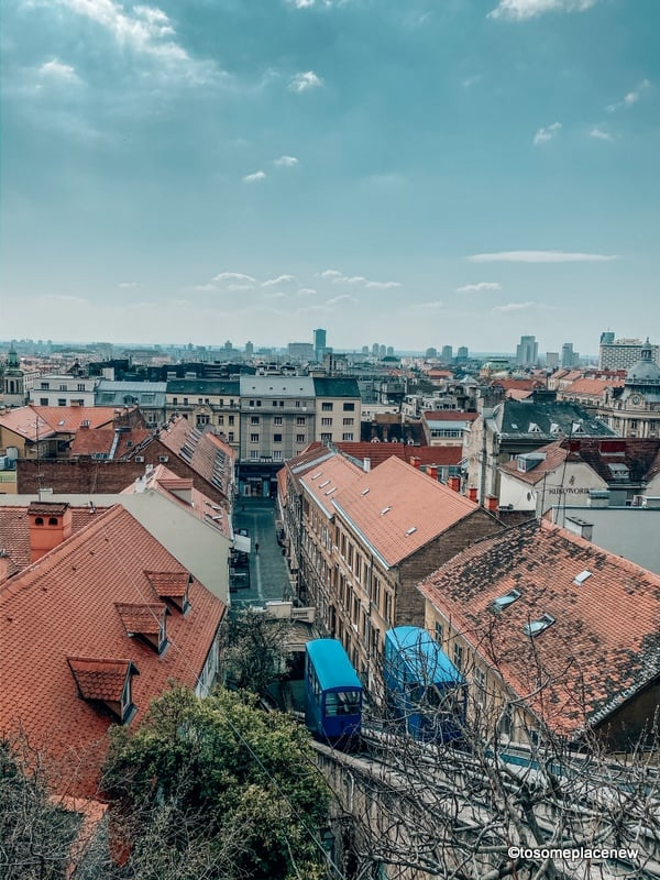 Zagreb Funicular and views from upper town. Strossmayer Promenade.