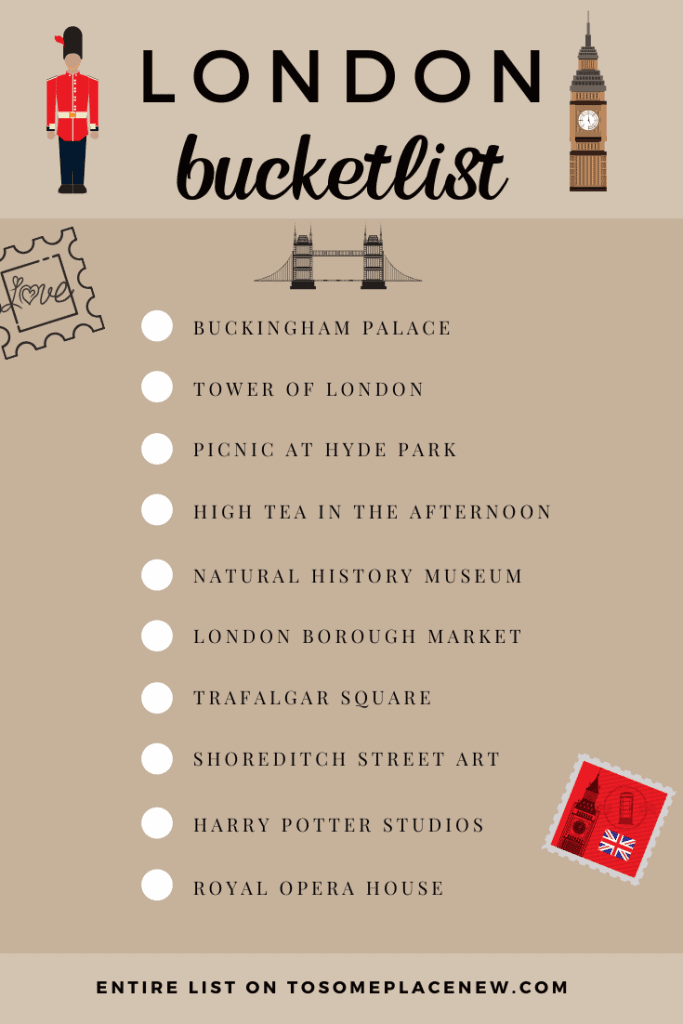 London Bucket List Ideas