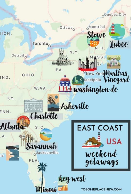 map of Weekend getaways on the east coast
