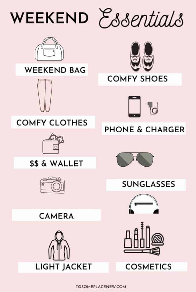 What To Pack For A Weekend Away Packing List Tosomeplacenew