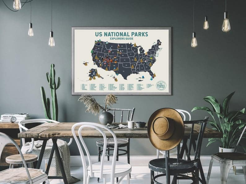 National Parks scratch map (unique gifts for travelers)