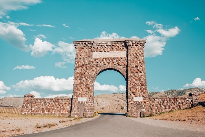 Roosevelt Arch is the north entrance to Yellowstone National Park