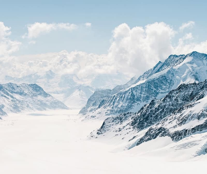 Panorama Scenic of Great Aletsch Glacier Jungfrau region,Part of Swiss Alps Alpine Snow Mountain Landscape at Switzerland.