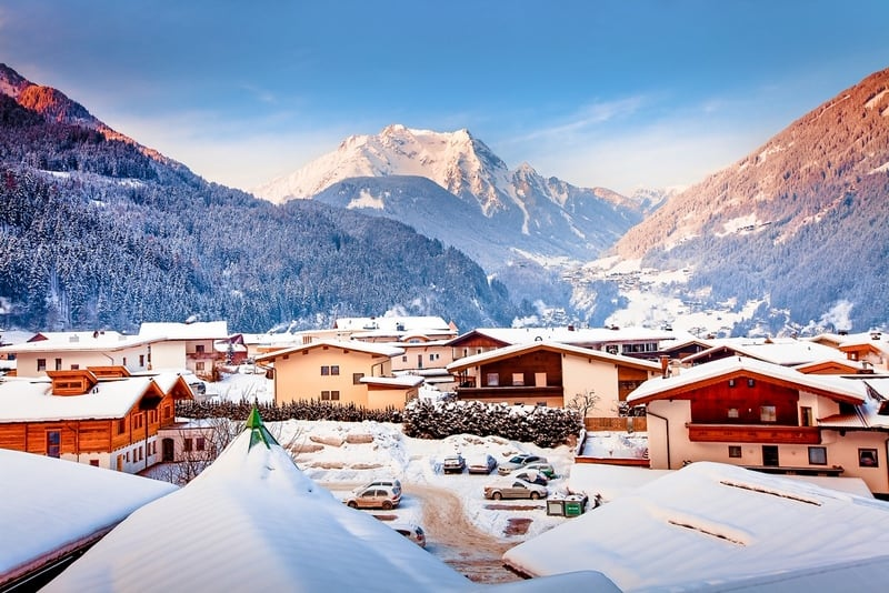 Panorama view of Mayrhofen winter resort in Austria