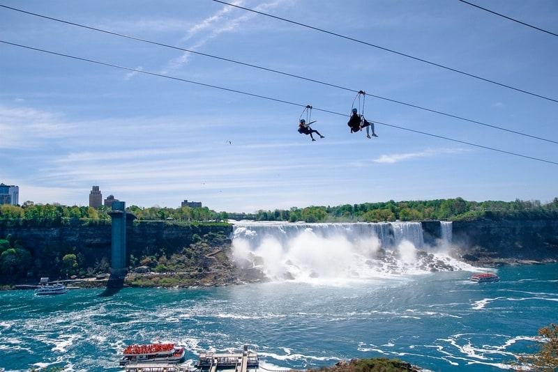 Niagara Falls zip lining on the Niagara River along the Canada U.S. border.