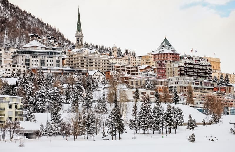 Downtown in St. Moritz during winter