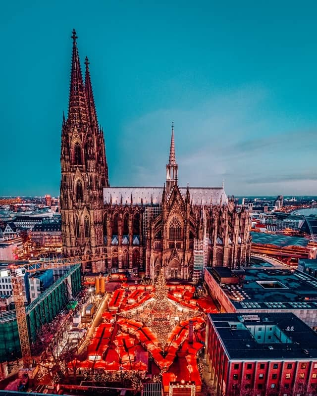 Cologne Germany Christmas market, aerial drone view over Cologne rhine river Germany Europe