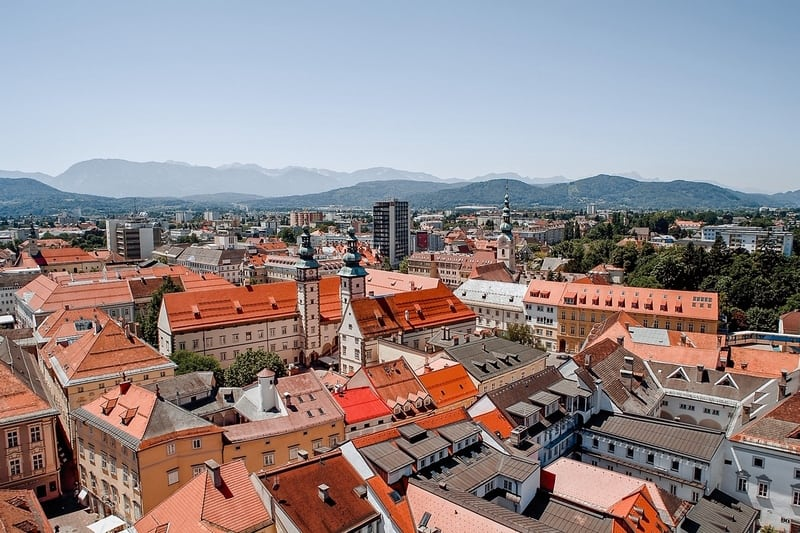 Panoramic view of Klagenfurt, Austria