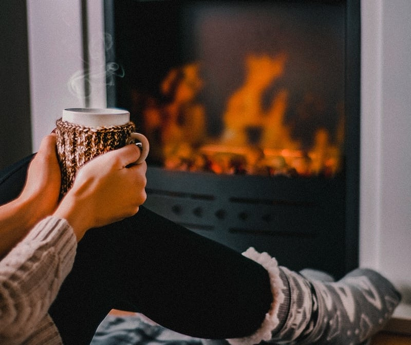 Hot chocolate and fireplace things to do when its cold outside