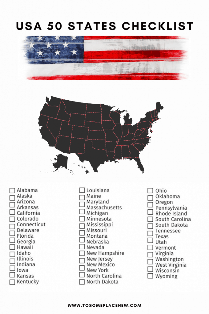 USA Bucket list 50 states