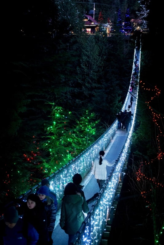 The Capilano suspension bridge in Vancouver, Canada is lighted up for Christmas and New Year on New Year's eve of 2014.