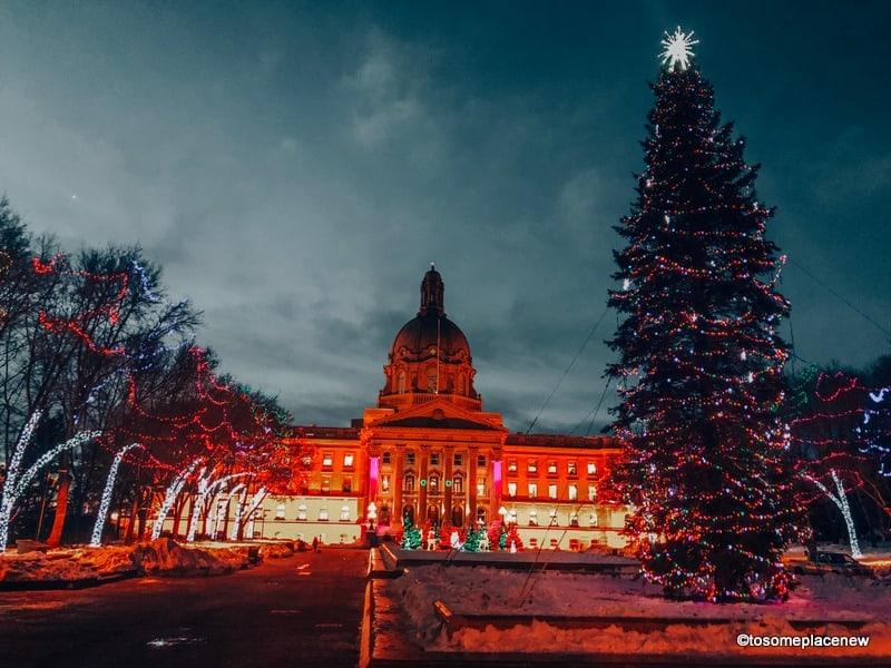 Christmas in Edmonton Decorations at the Legislature Building