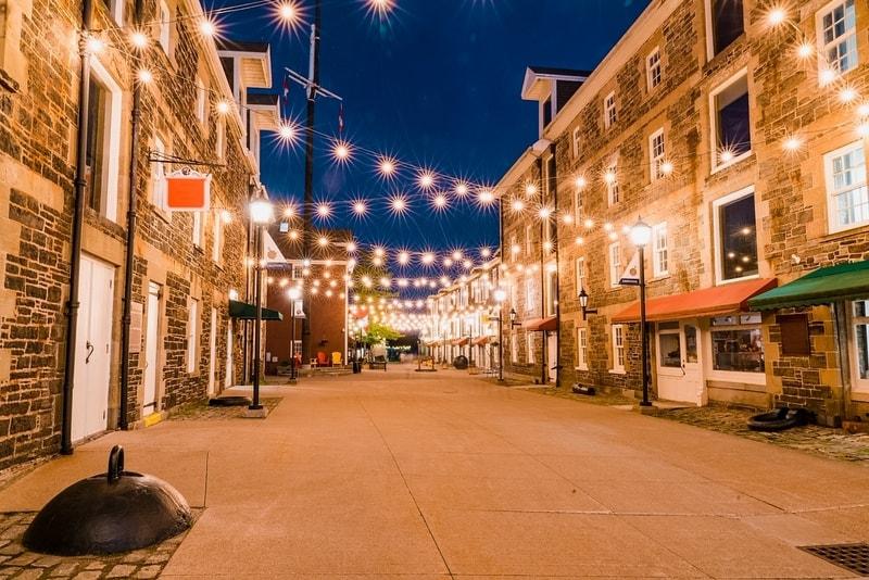 Shops near the Halifax, Nova Scotia waterfront along the Historic Properties Market Mall