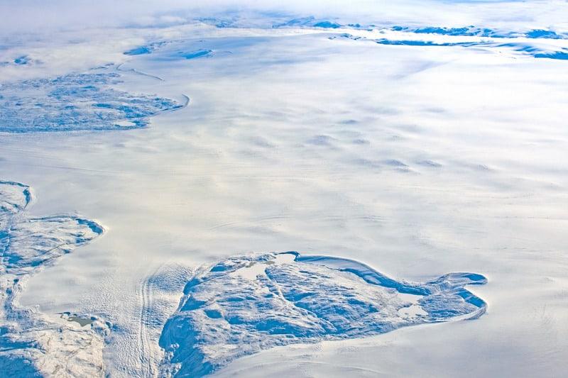 Aerial View of the Greenland Ice Cap near Kangerlussuaq, Greenland
