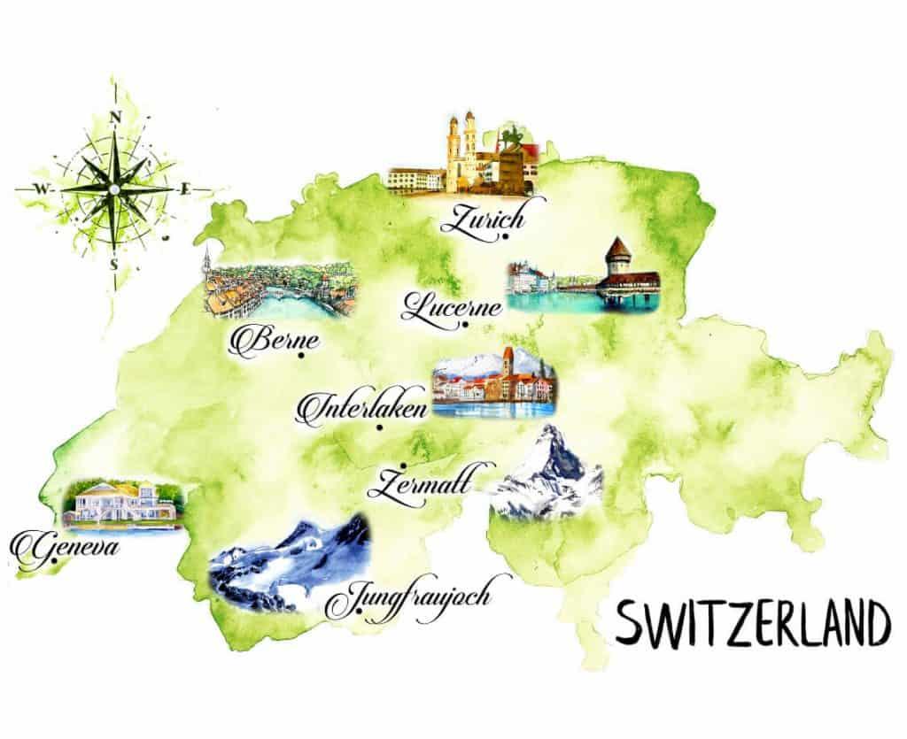 Map of Switzerland: Itinerary 5 days