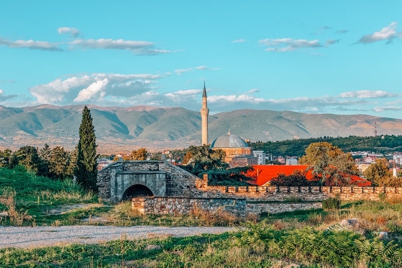 View of Mustafa Pasha's Mosque and mountain range from Skopje Fortress, Skopje, North Macedonia