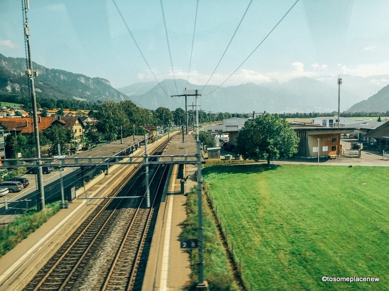 View from Swiss trains to the countryside and tracks