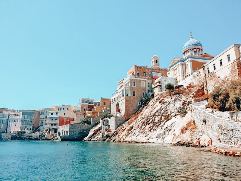View of Syros in Greece