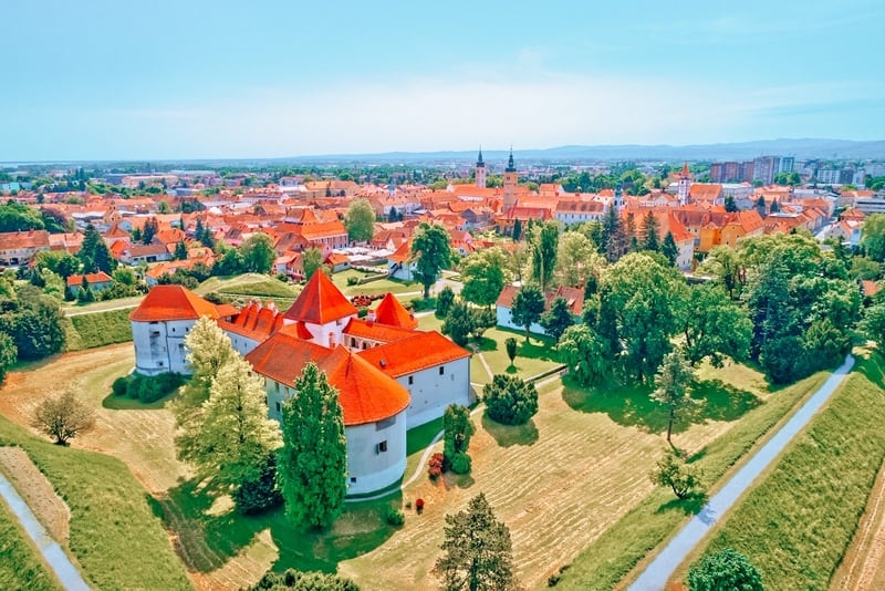 Historic town of Varazdin aerial panoramic view, northern Croatia
