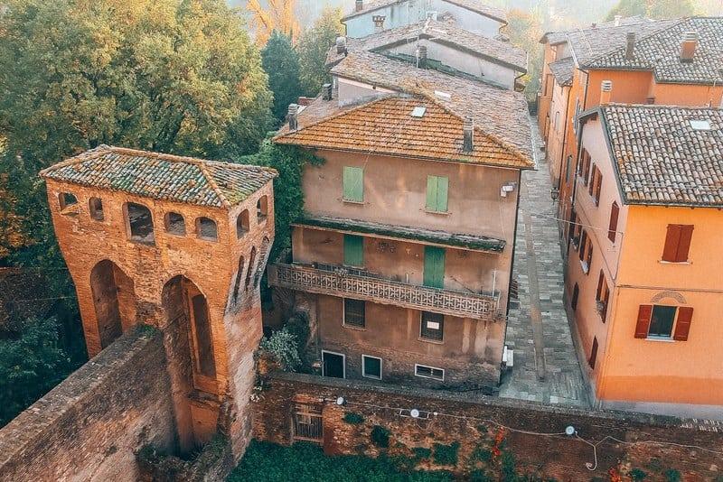 Historic city center of Vignola, Italy. Top view
