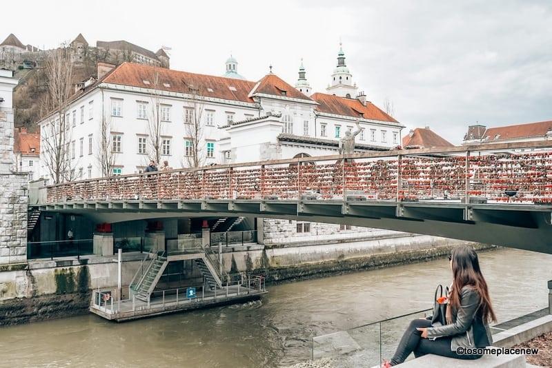 Butcher Bridge and river in Ljubljana