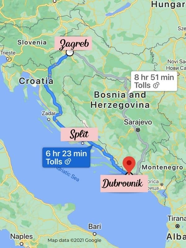 Google map showing the distances in Croatia. Which city is closer to Zagreb, Dubrovnik or Split