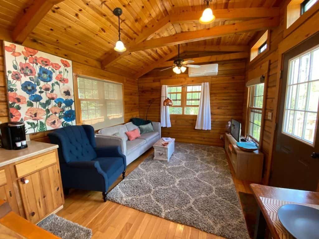 Tiny home living room views in Downtown Boone