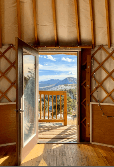 Yurt, one of the best airbnbs in Boulder Colorado