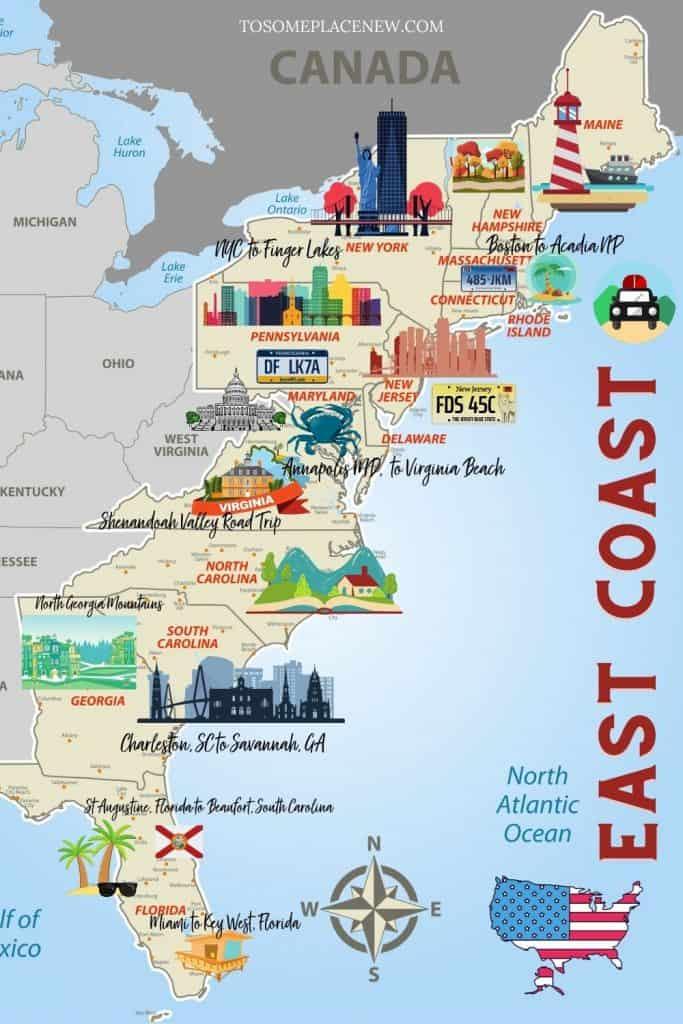 USA East Coast road trips Illustrated Map
