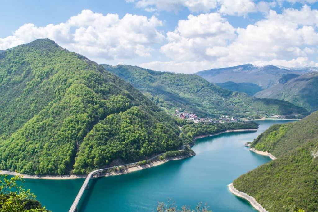 Piva Lake on a Montenegro Balkan road trip