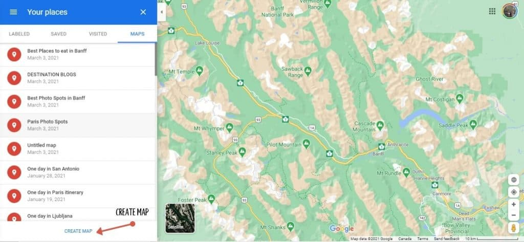 Create a map on Google maps