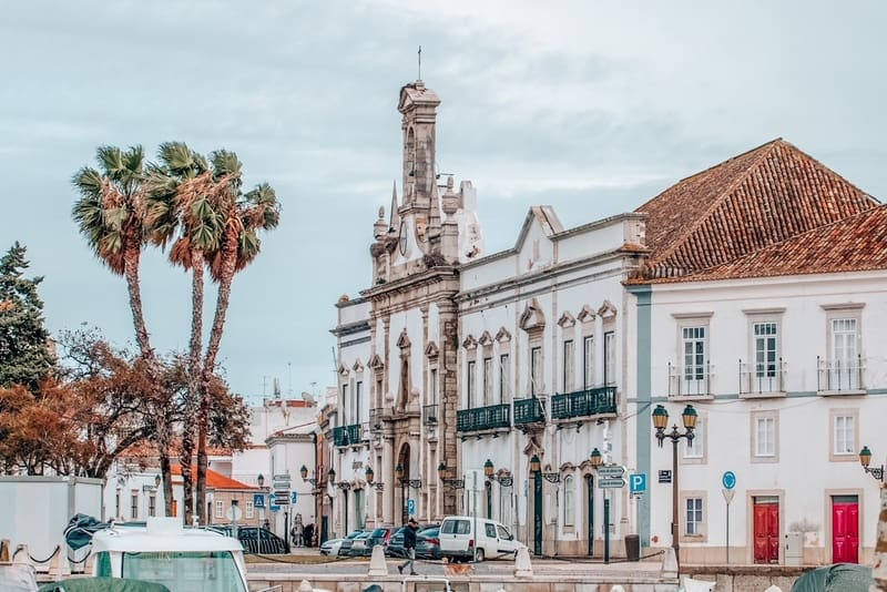 Main entrance to historical downtown of Faro in beautiful Portugal.