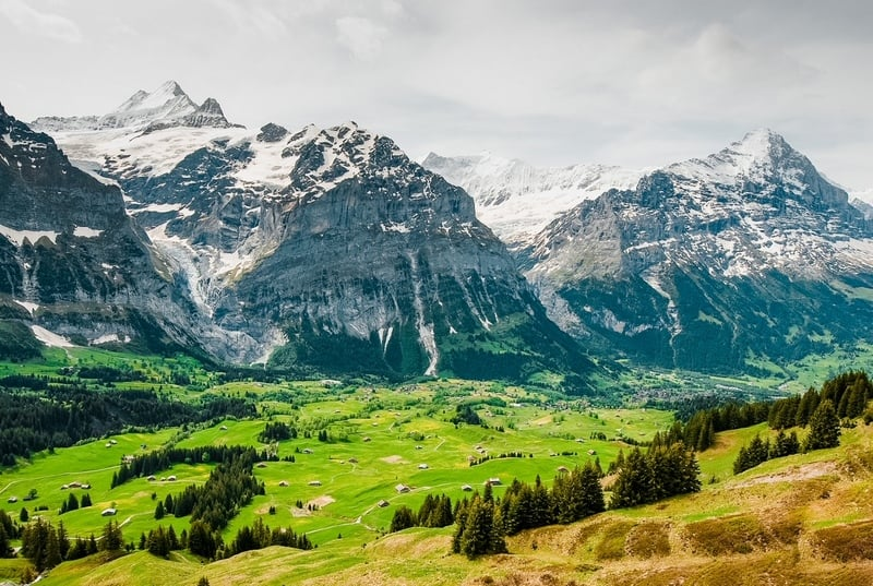 Grindelwald with Eiger and Schreckhorn mountain peaks in spring