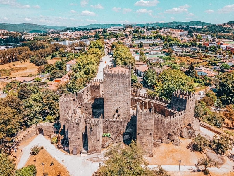 Aerial view of castle of Guimaraes, first capital of Portugal