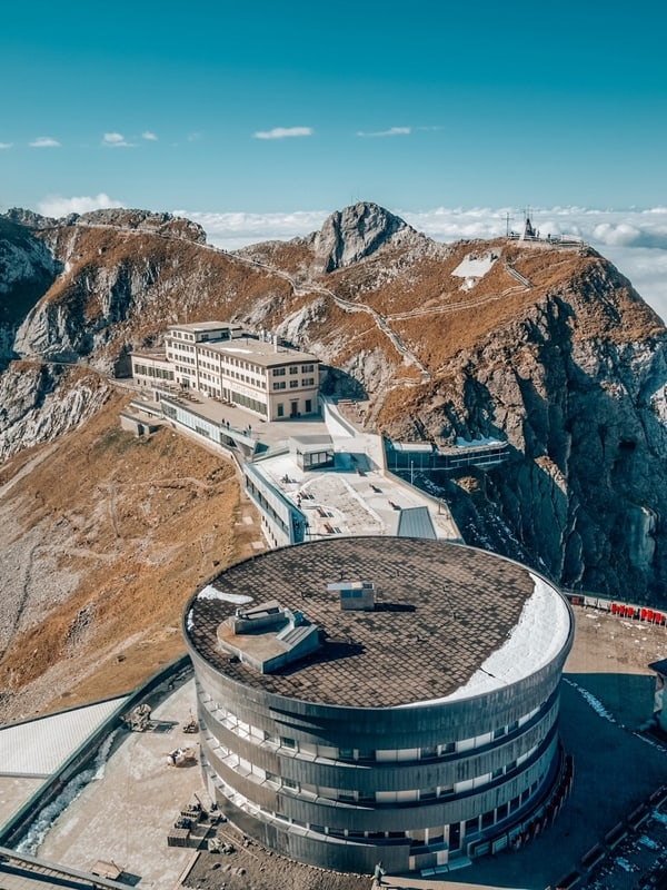 Pilatus Kulm station near the summit of Mount Pilatus on the border between the canton of Obwalden and Nidwalden in Central Switzerland.