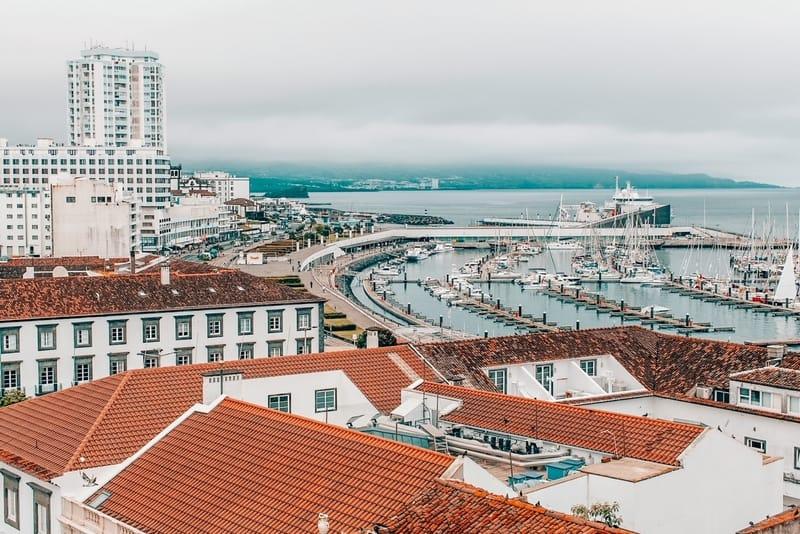 View of the Ponta Delgada - San Miguel Island, Azores, Portugal.