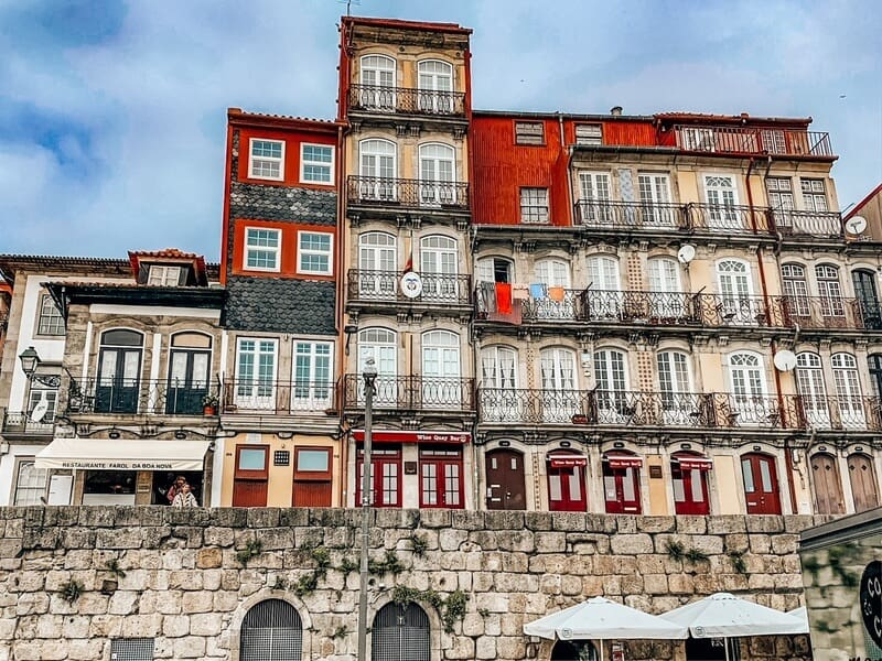 View of houses in Rebeira in Porto Portugal