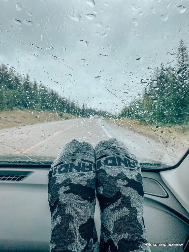 Road tripping in the rain