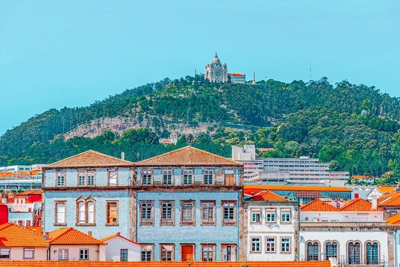 Colorful facades of houses on Lima riverside in Viana do Castelo in Portugal