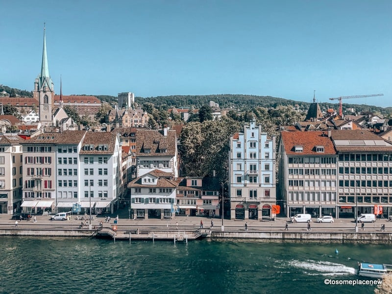 View of Zurich Old Town & Limmat River from Lindenhof Hill