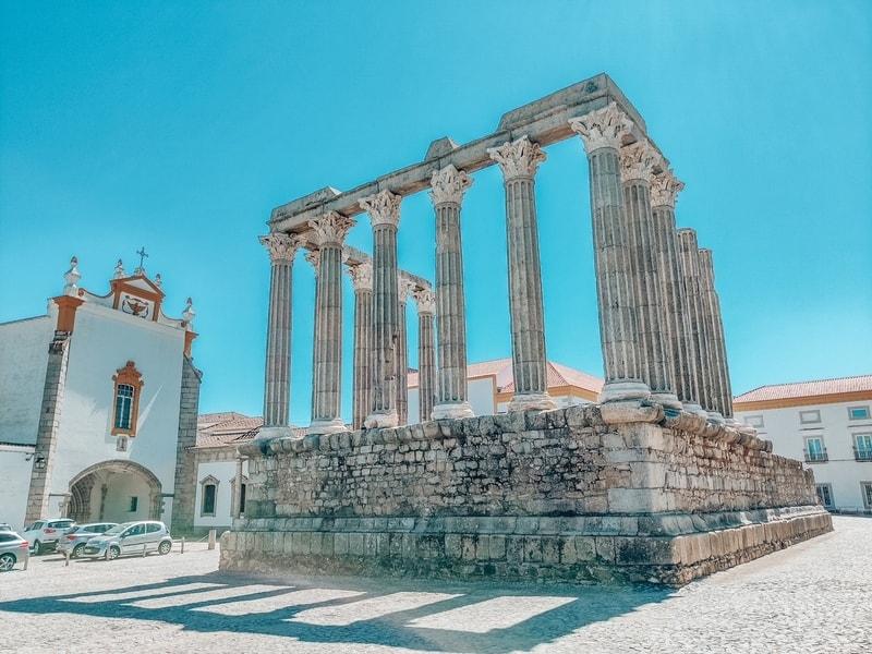 Roman Temple ruins in Evora Portugal