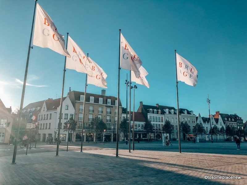 Bruges flags near the city centre
