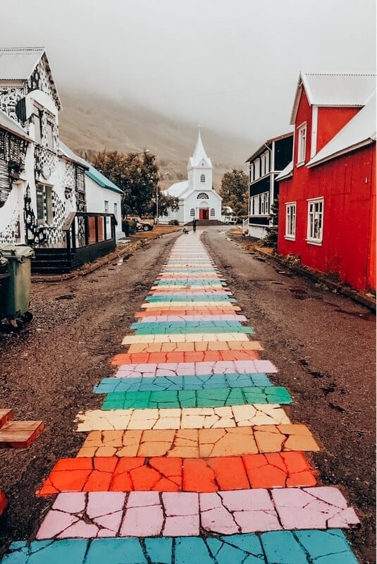 Blue Church and Rainbow Street in Seyðisfjörður
