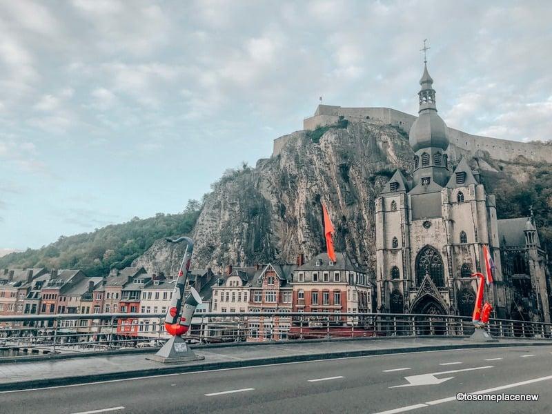 Dinant Charles de Gaulle Bridge Belgium with saxophones
