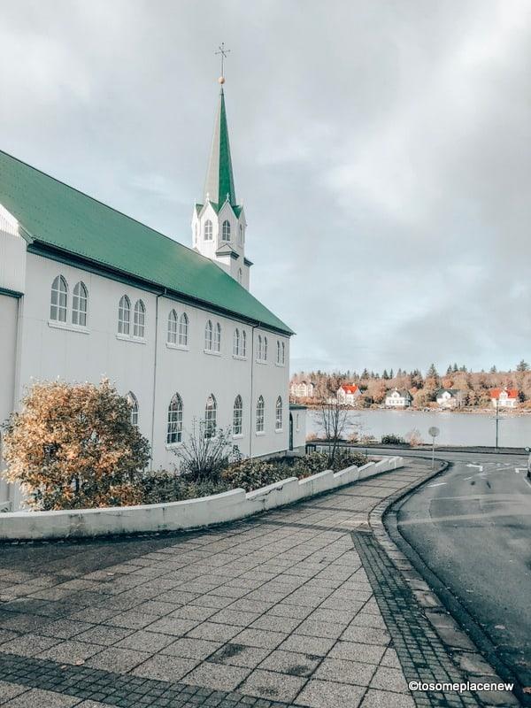 Pretty Green and White Church in Reyjkavik