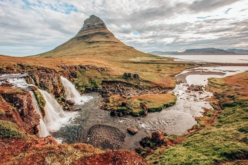 Kirkjufell volcano on the coast of Snaefellsnes peninsula.