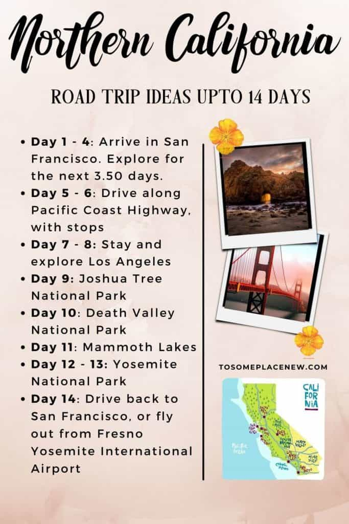 Pin for Northern California road trip itinerary