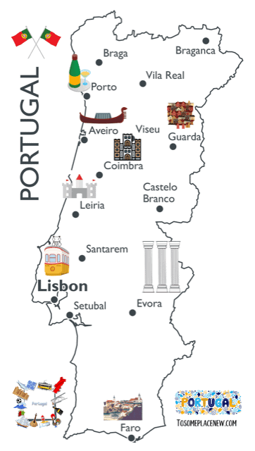 Portugal Map Illustrated