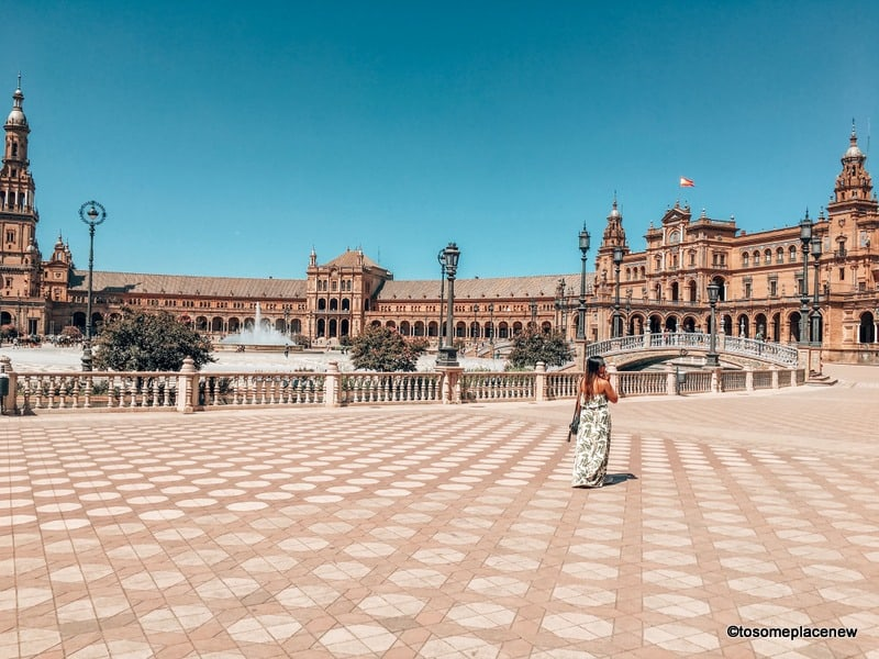 Girl at the Plaza de Espanya Seville Spain in Europe itinerary 2 weeks